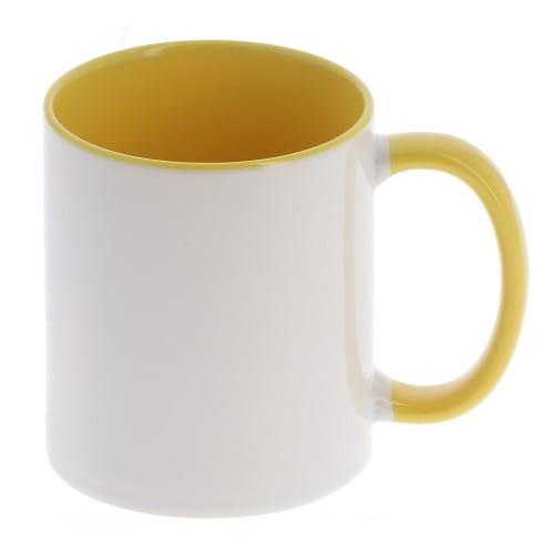 Mug céramique MB TECH 330ml (11oz) - Blanc/poignée et intérieur jaune - Certifié contact alimentaire - Diam. ext. 82mm/Haut. 96m
