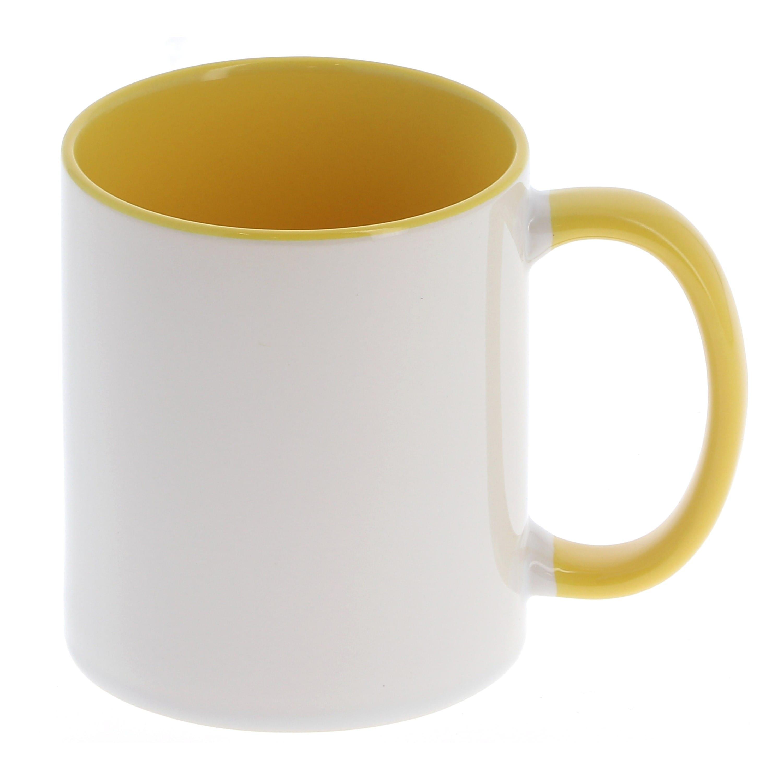 Mug céramique 330ml (11oz) Blanc/poignée et intérieur jaune - Qualité AAA - Diamètre 82mm