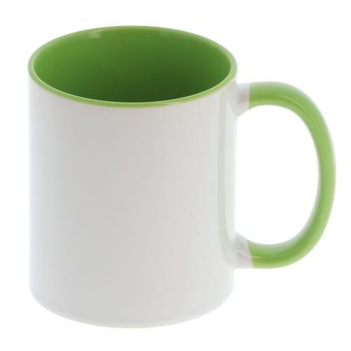 Mug céramique MB TECH 330ml (11oz) - Blanc/poignée et intérieur vert - Certifié contact alimentaire - Diam. ext. 82mm/Haut. 96mm