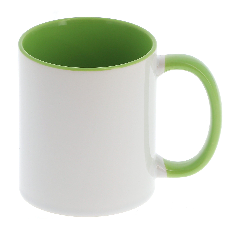 Mug céramique 330ml (11oz) Blanc/poignée et intérieur vert - Qualité AAA - Diamètre 82mm