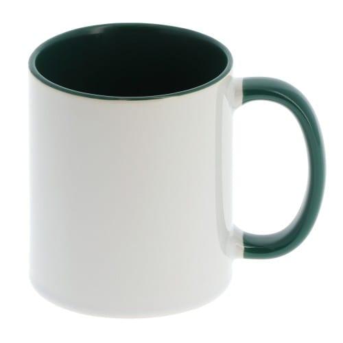 Mug céramique MB TECH 330ml (11oz) - Blanc/poignée et intérieur vert foncé - Certifié contact alimentaire - Diam. ext. 82mm/Haut