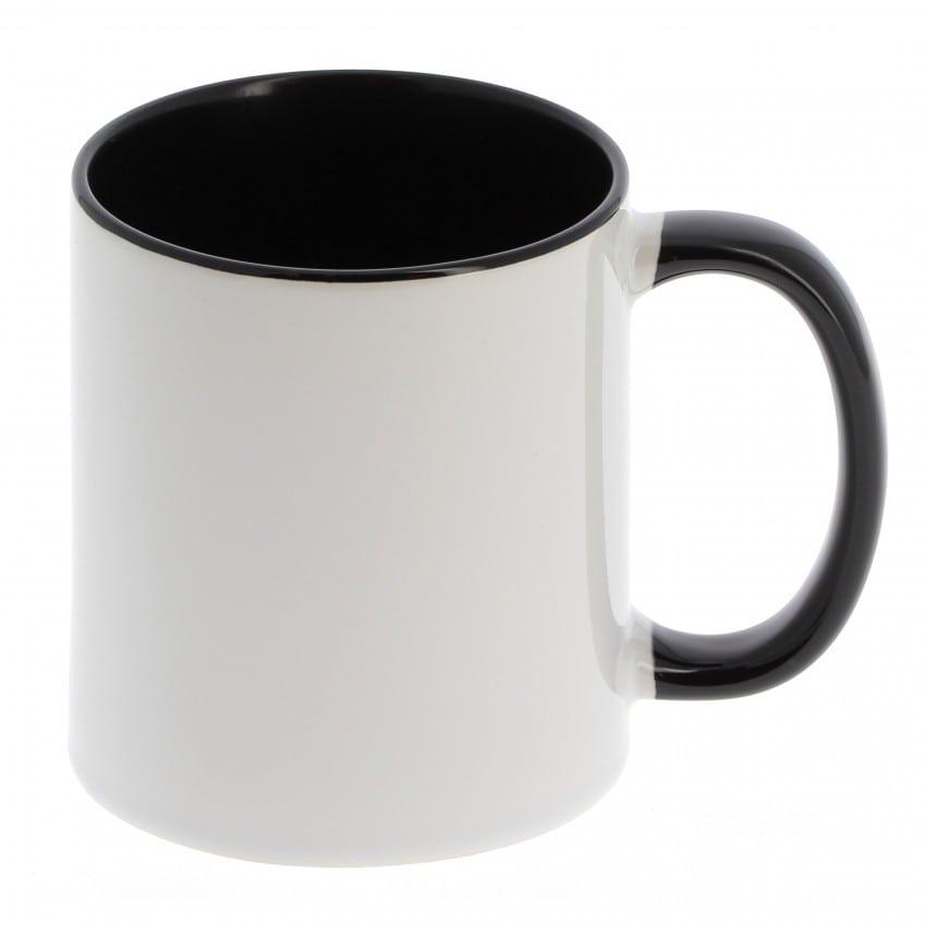 Mug céramique MB TECH 330ml (11oz) - Blanc/poignée et intérieur noir - Certifié contact alimentaire - Diam. ext. 82mm/Haut. 96mm