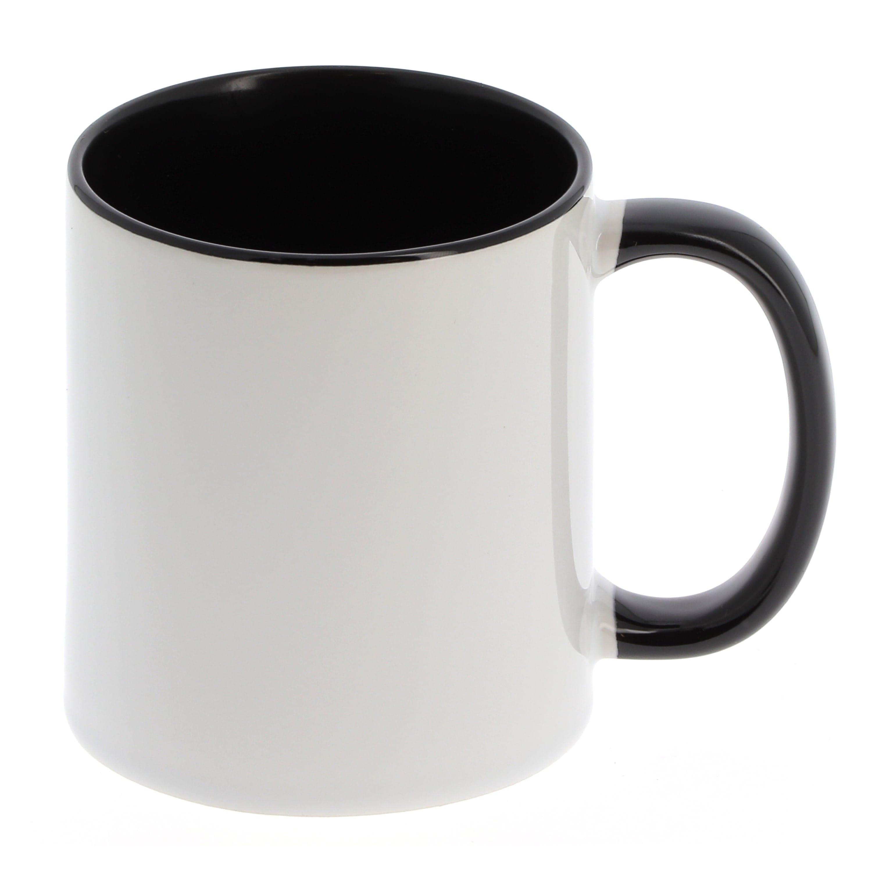 Mug céramique 330ml (11oz) Blanc/poignée et intérieur noir - Qualité AAA - Diamètre 82mm