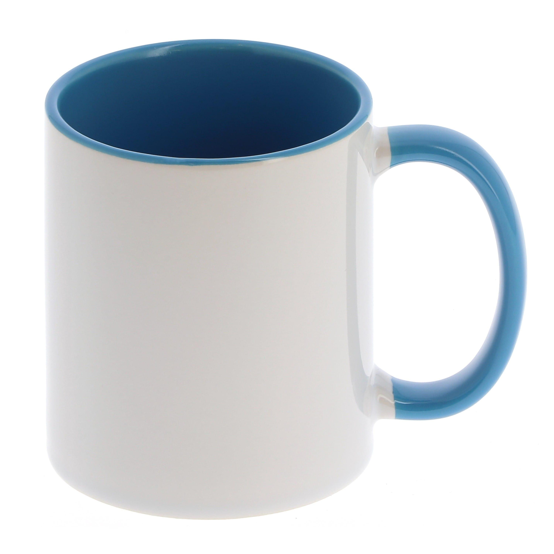 Mug céramique 330ml (11oz) Blanc/poignée et intérieur bleu clair - Qualité AAA - Diamètre 82mm