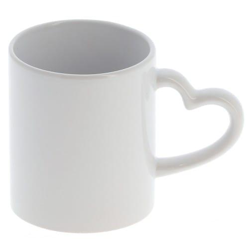 Mug céramique TECHNOTAPE 300ml (10oz) Blanc - Anse cœur - Lavage à la main - Certifié contact alimentaire