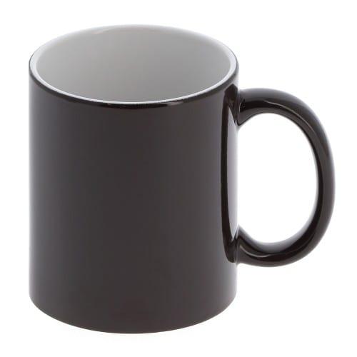 Mug céramique magique MB TECH 330ml (11oz) - Noir brillant - L'impression apparaît quand l'eau chaude est versée.