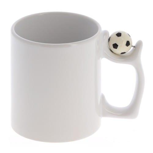 Mug céramique TECHNOTAPE 330ml (11oz) Blanc - Anse ballon de foot - Lavage à la main - Certifié contact alimentaire