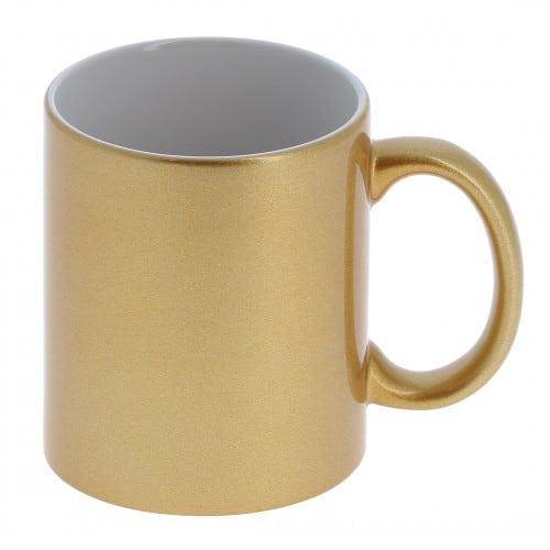 Mug céramique MB TECH céramique 330ml (11oz) - Or et intérieur blanc - Certifié contact alimentaire - Diam. ext. 82mm/Haut. 96mm