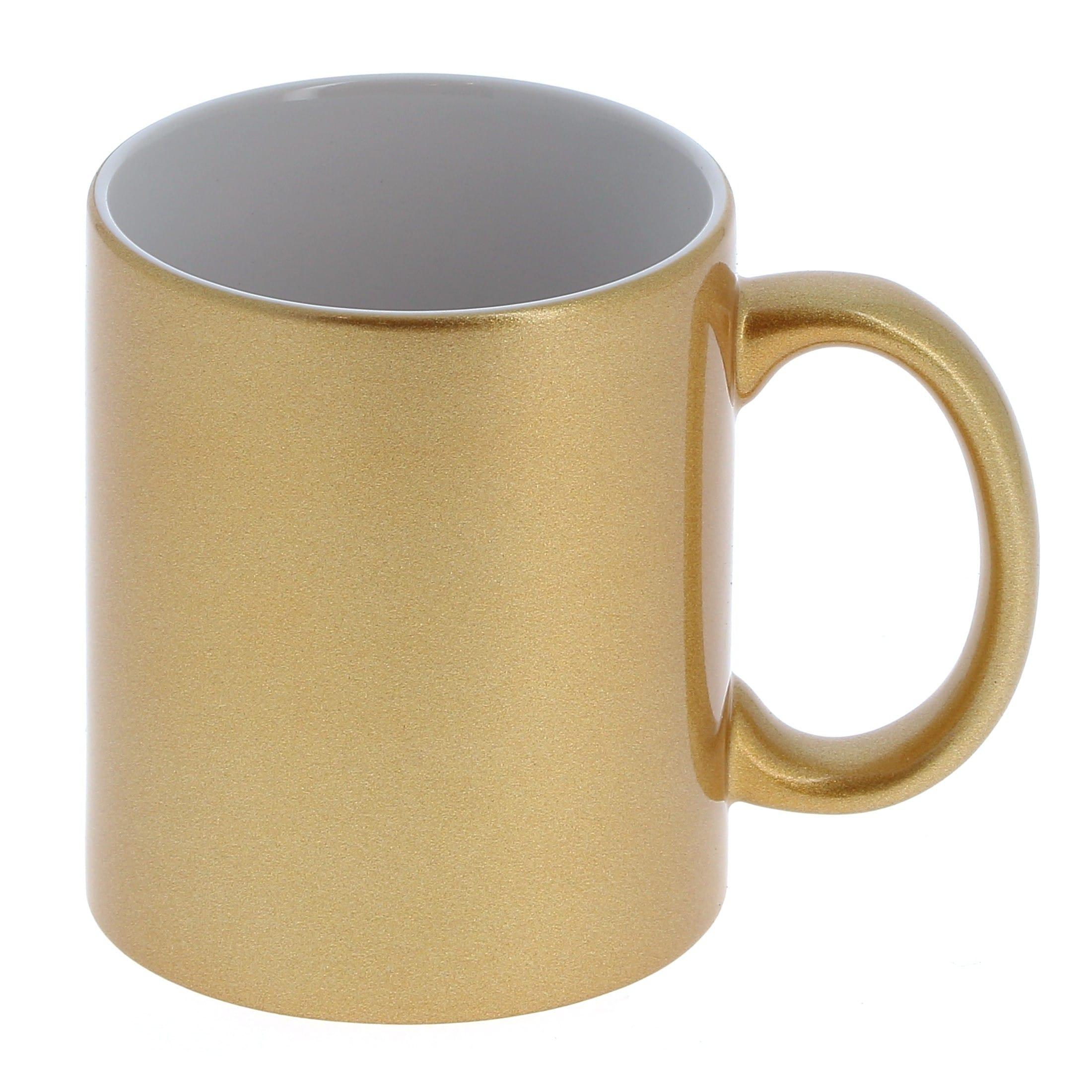 Mug céramique 330ml (11oz) Or et intérieur blanc - Qualité AAA - Diamètre 82mm