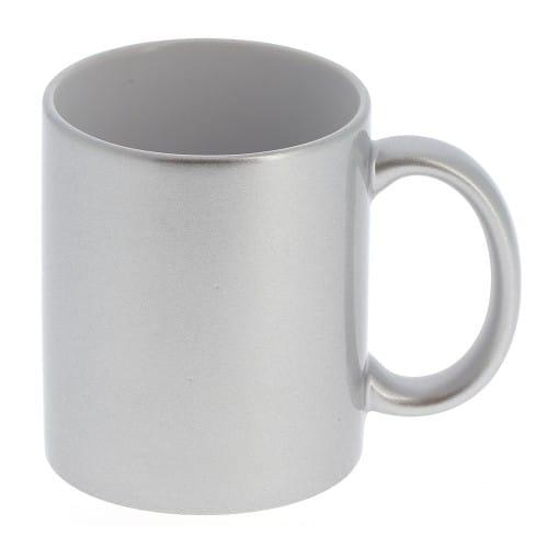 Mug céramique MB TECH 330ml (11oz) Argent et intérieur blanc - Certifié contact alimentaire - Diam. ext. 82mm/Haut. 96mm