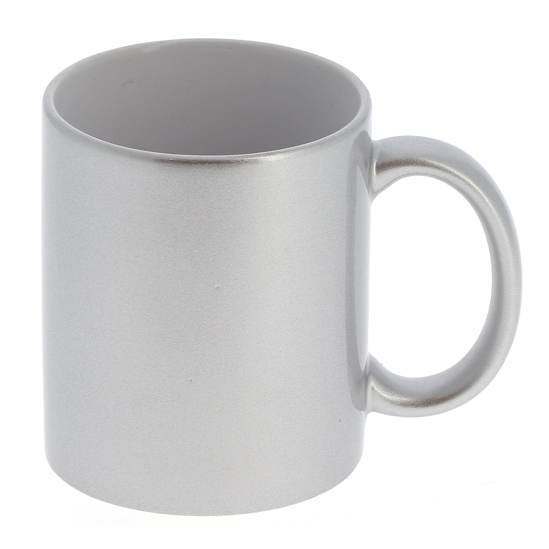Mug céramique 330ml (11oz) Argent et intérieur blanc - Qualité AAA - Diamètre 82mm