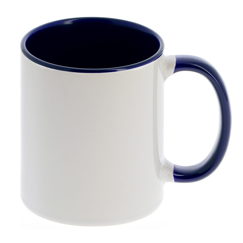 Mug céramique 330ml (11oz) Blanc/poignée et intérieur bleu foncé - Qualité AAA - Diamètre 82mm