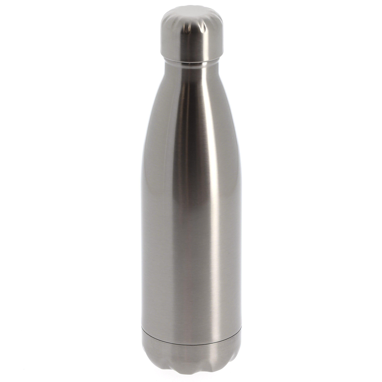 Gourde isotherme 500ml (17oz) Argent bouchon acier inoxydable - Diamètre 70mm