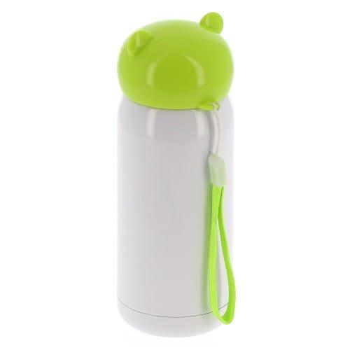 Gourde isotherme enfant 320ml (11oz) Blanc bouchon vert - Diamètre 67mm - Livrée avec dragonne