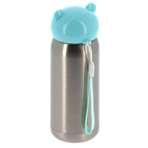 Gourde isotherme enfant 320ml (11oz) Argent bouchon bleu - Diamètre 67mm - Livrée avec dragonne