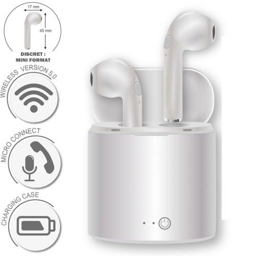 GEEK MONKEY - Ecouteurs blancs Bluetooth version 5.0 - Livré avec boîtier de charge
