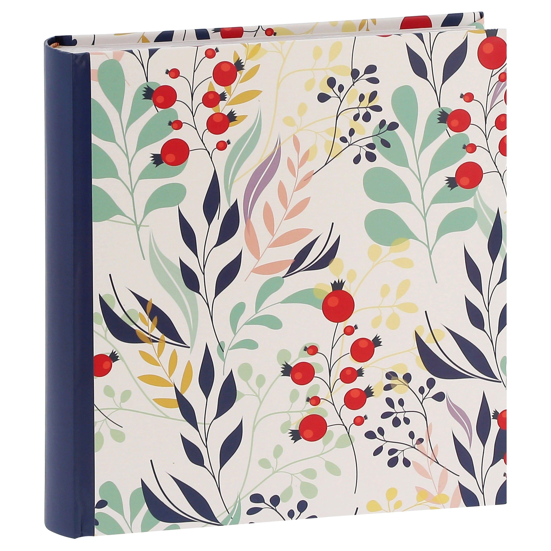 ERICA - Album photo pochettes avec mémo FLOWERS - 100 pages blanches - 200 photos - Couverture Bleue 24x24,8cm
