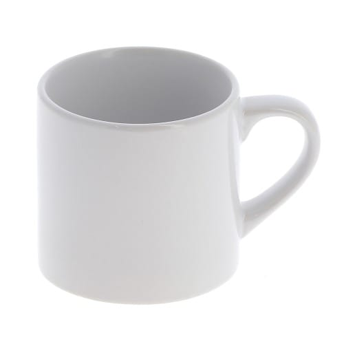 Mug céramique MB TECH 180ml (6oz) - Blanc - Adapté lave-vaisselle/micro-ondes - Certifié contact alimentaire - Diam. ext. 70mm/H