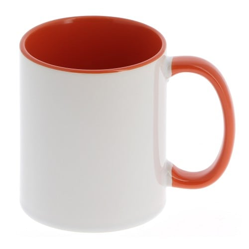 Mug céramique MB TECH 330ml (11oz) - Blanc/poignée et intérieur orange - Certifié contact alimentaire - Diam. ext. 82mm/Haut. 96