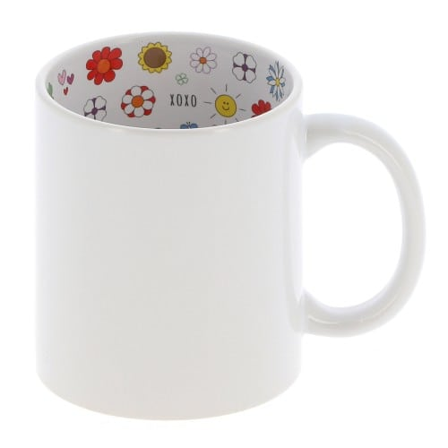 "Mug céramique 330ml (11oz) Blanc - Intérieur ""I love Mom"" - Qualité AAA - Diamètre 82mm"