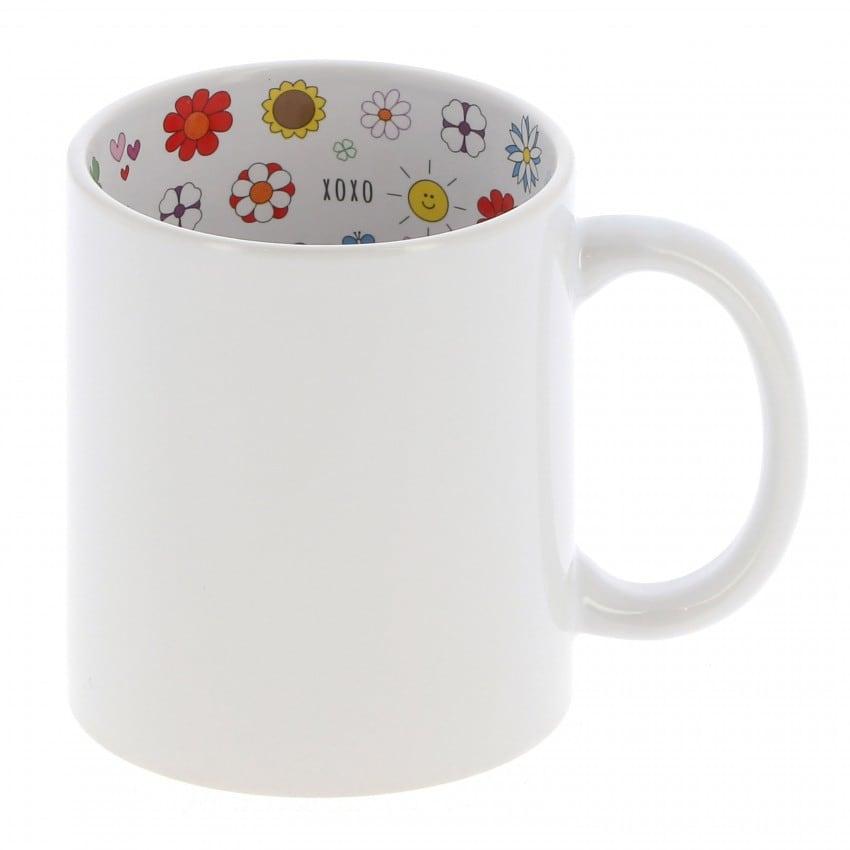 """Mug céramique TECHNOTAPE 330ml (11oz) Blanc - Intérieur """"I love Mom"""" - Adapté lave-vaisselle/micro-ondes - Certifié contact alim"""