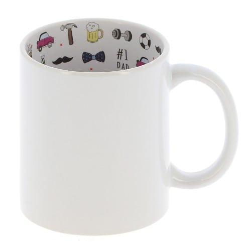 "Mug céramique 330ml (11oz) Blanc - Intérieur ""I love Dad"" - Qualité AAA - Diamètre 82mm"