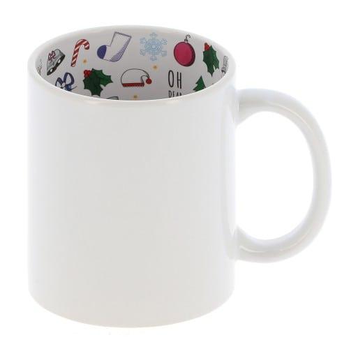"Mug céramique 330ml (11oz) Blanc - Intérieur ""Christmas"" - Qualité AAA - Diamètre 82mm"