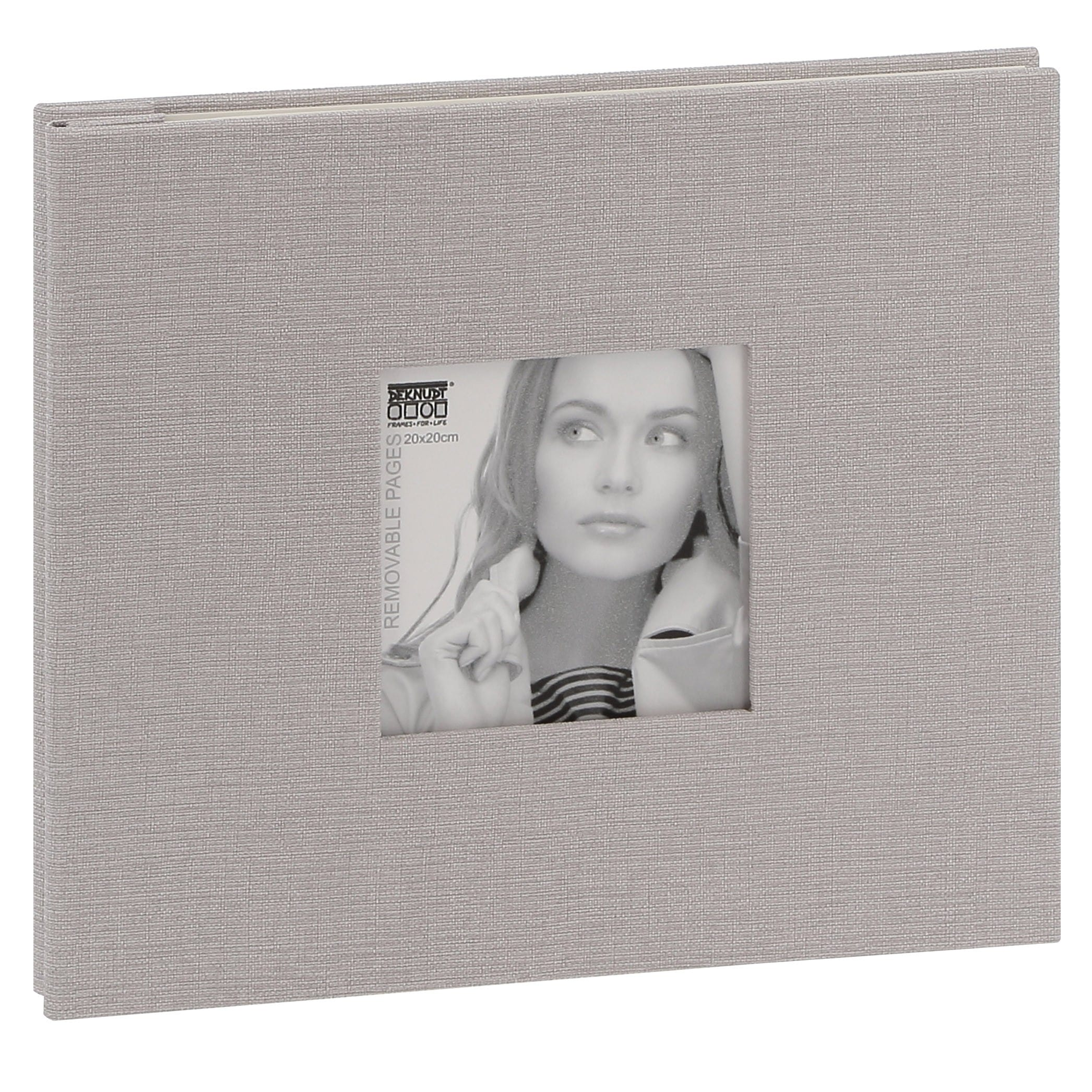 DEKNUDT - Album photo traditionnel - 20 feuilles amovibles - 40 pages blanches - 80 photos - Couverture Grise 24,5x21,5cm + fenêtre