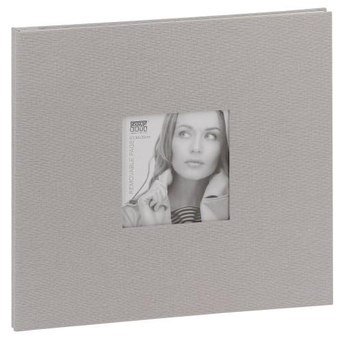 traditionnel - 20 pages blanches amovibles - Couverture Tissu gris 35x31,5cm + fenêtre