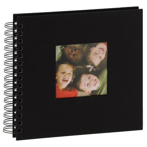 Album photo DEKNUDT à spirale 20x20cm - 48 pages noires Tissu noir