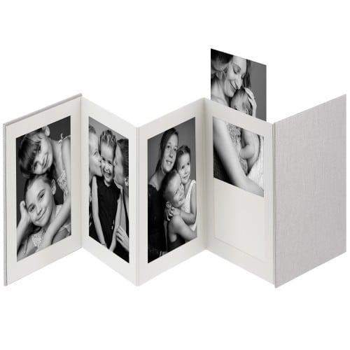 DEKNUDT - Mini album accordéon LEPORELLO - 8 pages blanches - 8 photos 13x18cm - Couverture Grise 23,5x17,5cm