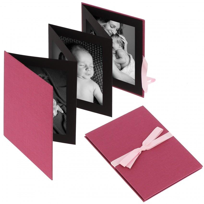 """Accordéon """"Leporello"""" série BELLA VISTA en Lin - 15,5x19cm pour 10 photos 10x15cm (Fushia)"""