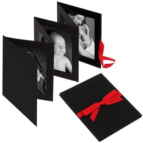 """Accordéon """"Leporello"""" série BELLA VISTA en Lin - 15,5x19cm pour 10 photos 13x18cm ou 10x15cm (Noir)"""