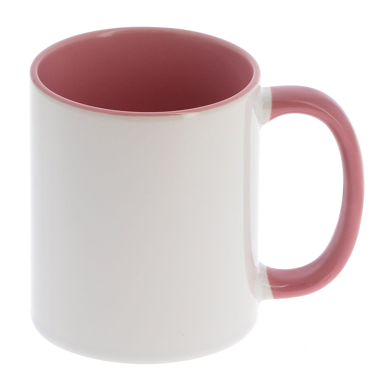 Mug céramique 330ml (11oz) - Blanc/poignée et intérieur rose - Qualité AAA - Diamètre 82mm