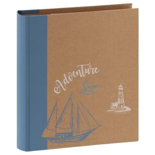 """pochettes avec mémo ERICA """"Kraftty2"""" - 100 pages kraft - 200 photos - Couverture Bleue Clair 21,5cmx25cm"""