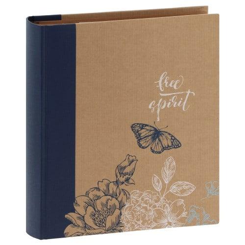 ERICA - Album photo pochettes avec mémo ERICA KRAFTTY 2 - 100 pages kraft - 200 photos - Couverture Bleue 21,5x25cm