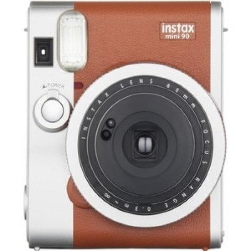 FUJI - Appareil photo instantané Instax Mini 90 Neo Classic Brun - Format photo 62 x 46mm - Livré avec batterie, chargeur et dragonne