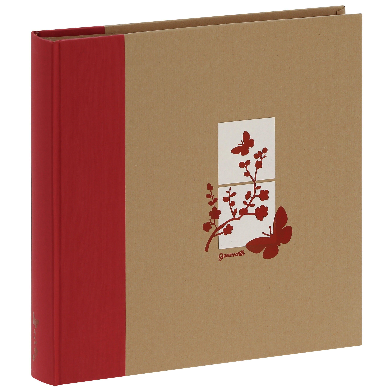 PANODIA - Album photo traditionnel GREENEARTH - 100 pages kraft + feuillets cristal - 400 photos - Couverture Rouge 30x30cm