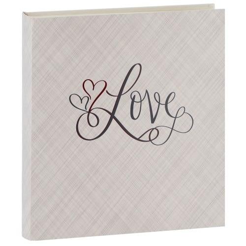 PANODIA - Album photo traditionnel LOVE - 100 pages ivoires + feuillets cristal - 500 photos - Couverture Grise irisée 33x37.5cm