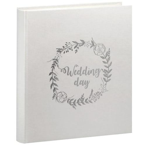 PANODIA - Album photo traditionnel WEDDING - 100 pages ivoires + feuillets cristal - 500 photos - Couverture Blanche Irisée 33x37,5cm