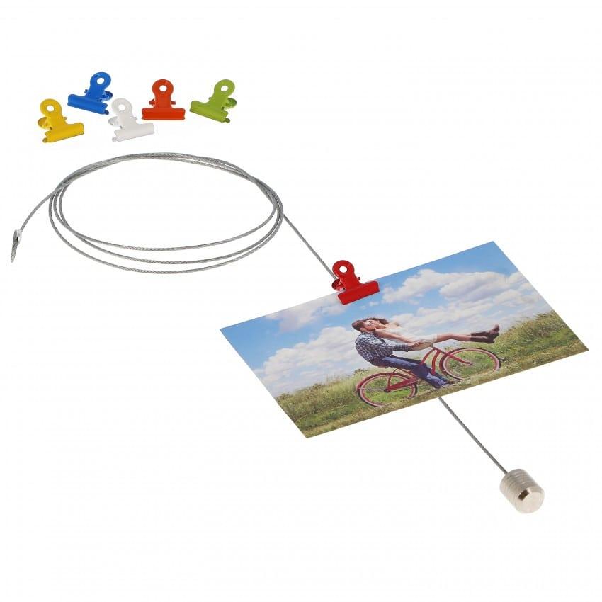 Magnet DEKNUDT câble métal 1m50 livré avec 6 aimants pince de couleur