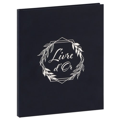 PANODIA - Livre d'or ROMA - 80 pages traditionnelles blanches - Couverture Bleue marine 20,5x24,5cm