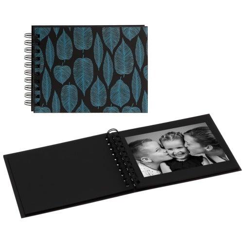 """""""TRENDY MEMORY"""" 19x13cm - à spirales - 30 photos 10x15cm - 30 pages traditionnelles noires (Feuilles)"""