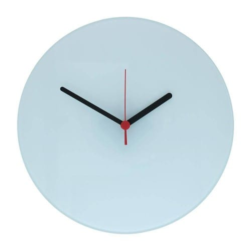 Horloge verre ronde 29cm aiguilles noires/rouges pour sublimation *
