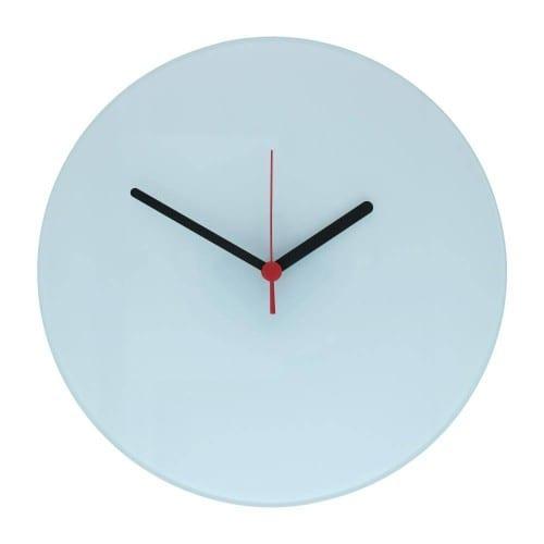 Horloge verre ronde 18cm - Aiguilles noires et rouges pour sublimation
