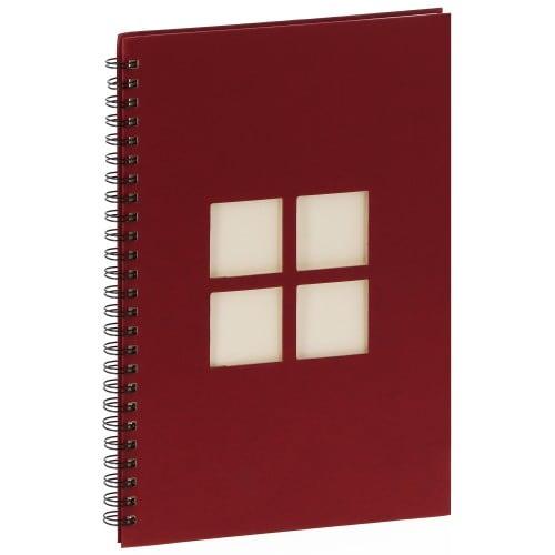 PANODIA - Album photo traditionnel MANILLE - 60 pages ivoires - 240 photos - Couverture Bordeaux 24x34cm + 4 fenêtres