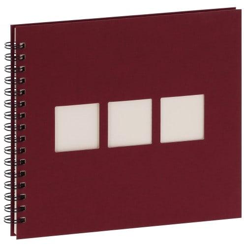 PANODIA - Album photo traditionnel MANILLE - 60 pages ivoires- 120 photos - Couverture Bordeaux 26,5x23cm + 3 fenêtres