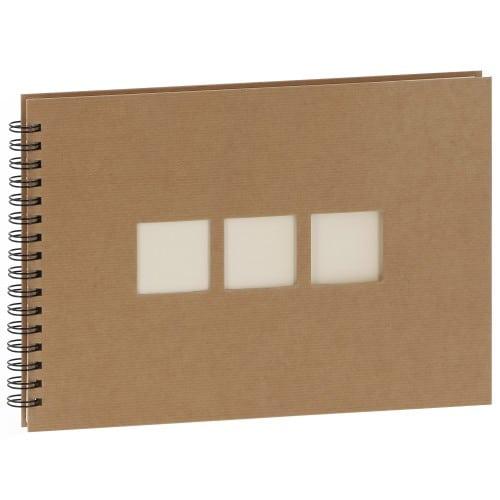 PANODIA - Album photo traditionnel MANILLE - 60 pages ivoires - 180 photos - Couverture Kraft 33x23cm + 3 fenêtres