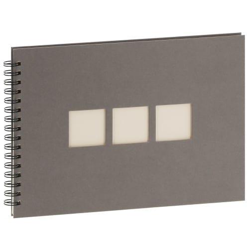 PANODIA - Album photo traditionnel MANILLE - 60 pages ivoires - 180 photos - Couverture Grise 33x23cm + 3 fenêtres