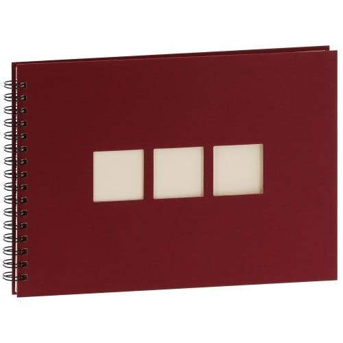 PANODIA - Album photo traditionnel MANILLE - 60 pages ivoires - 180 photos - Couverture Bordeaux 33x23cm + 3 fenêtres